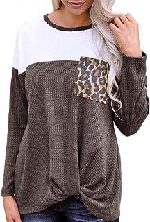 ea390b4973c71b Gemijack Womens Casual Tops Color Block Leopard Patchwork Blouse Twist Knot  Front Tunic