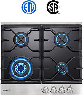 Gas Cooktop, Gasland chef 24'' Built-in 4 Burner Gas Cooktops, Black Tempered Glass LPG Natural Gas Hob, 24 Inch Gas Stove Top with 4 Burners, ETL Safety Certified, Thermocouple Protection