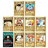 10pcs New Edition One Piece Pirates Wanted Posters,42cm x 29cm, Straw Hat Pirates Crew Luffy Chopper Zoro Nami Usopp Sanji Jinbe Franky Brook Robin