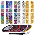 Anezus 7100 Pcs Nail Art Rhinestones Nail Gems Kit with 30 Assorted Colors Nail Art Striping Tape and Pickup Tools for Nail Art Supplies Accessories