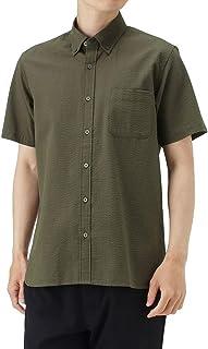 シャツ 半袖 半袖シャツ カジュアルシャツ メンズ オーガニックコットン 半袖シャツサッカー無地 無地 シンプル 301123MH