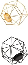 Fenteer 2Pcs Iron Wire 3D Geometric Tea Light Holder Candle Holder Lantern Table Top Desk Shelf Display Window Box Case Go...