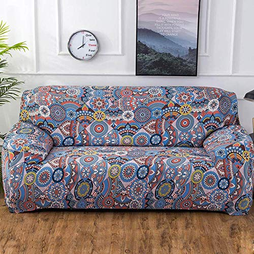 Funda de sofá con Estampado de Colores geométricos Fundas elásticas Funda de sofá antisuciedad Funda de Muebles de sofá Toalla Todo Envolvente, Color 4,4, Asiento 235,300cm