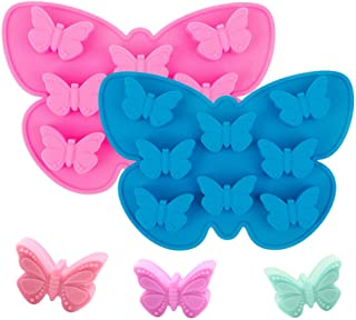 Stouge 2 Pcs Butterfly Cake Mold Butterfly Shape Silicone Trays Chocolate Candy Baking Molds, Non-Stick Chocolate Soap Pud...