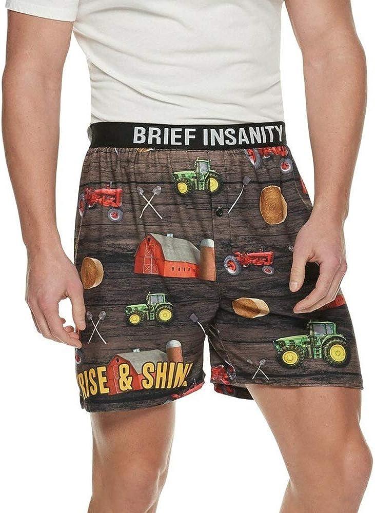 BRIEF INSANITY Boxer Briefs for Men | Boxer Shorts Farm Life Design - Funny, Humorous, Novelty Underwear Sleepwear