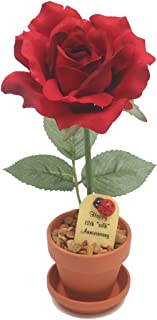 12th Year Wedding Anniversary Gift, Potted Artificial Desk Rose, Perfect Present for Wife or Husband