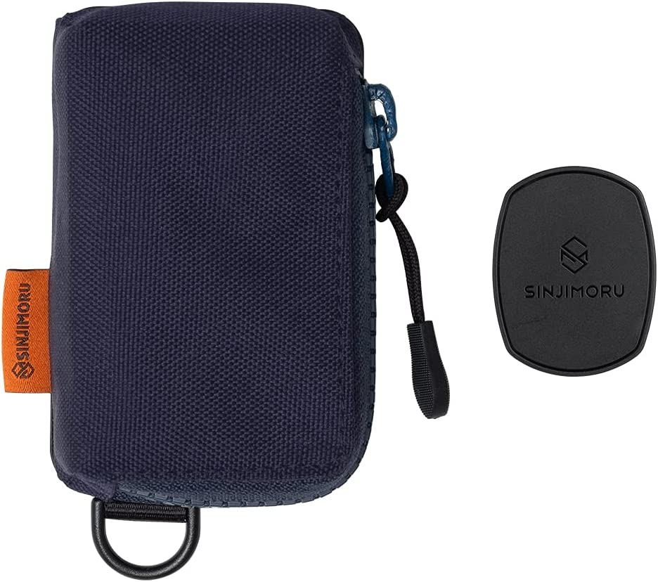 Sinjimoru Hiking Travel Zipper Pouch Stick on Cell Phone Wallet, Minimalist Keychain Wallet for iPhone Case Coin Purse or Travel Backpack Accessories. Sinji Mount Mini Zip, Navy