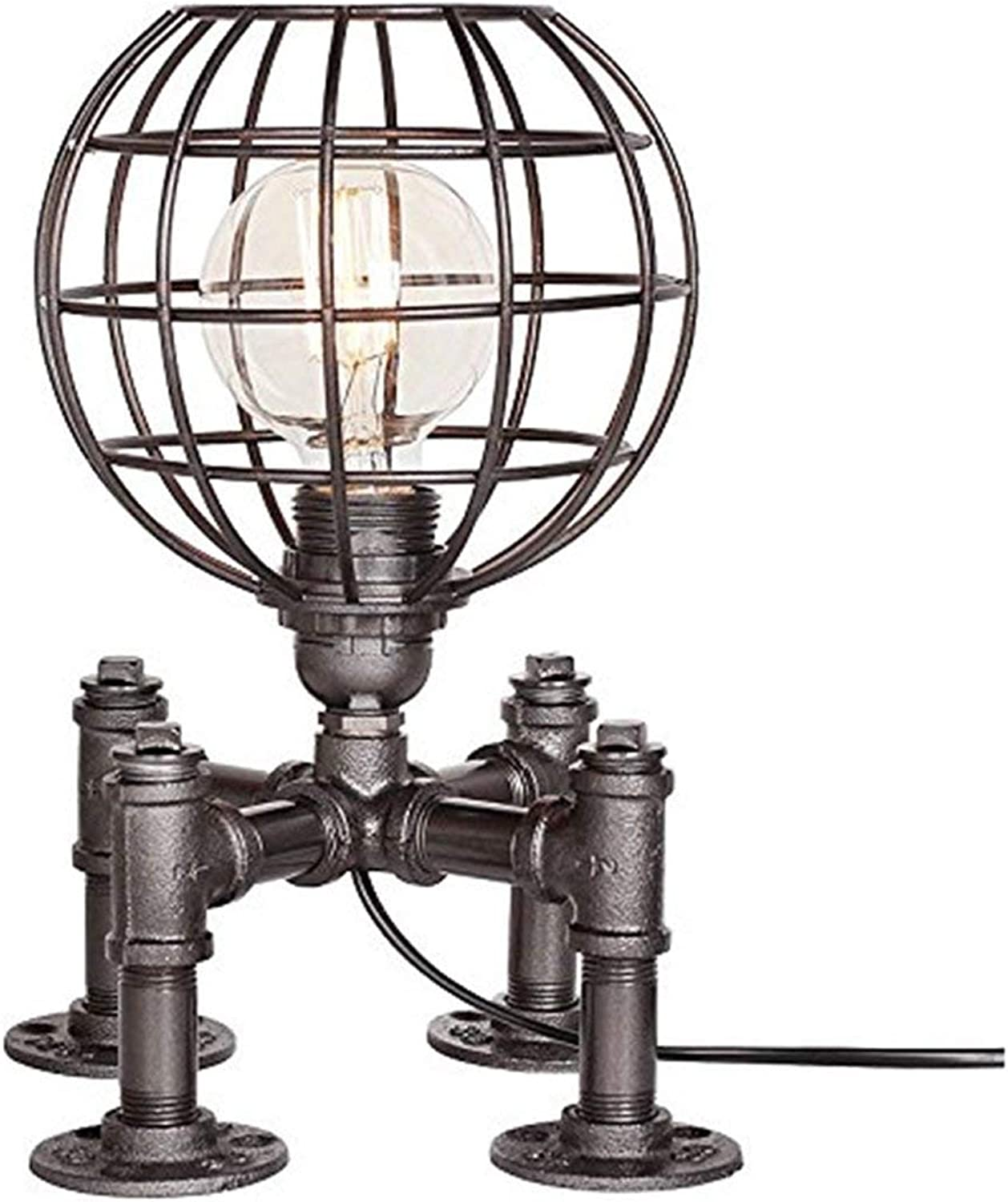 Perfect Home Vintage Industrial Table Lamp Steampunk Table Light Rustic Water Pipe Style Bedside Desk Lamp E271 Max 40W Durable
