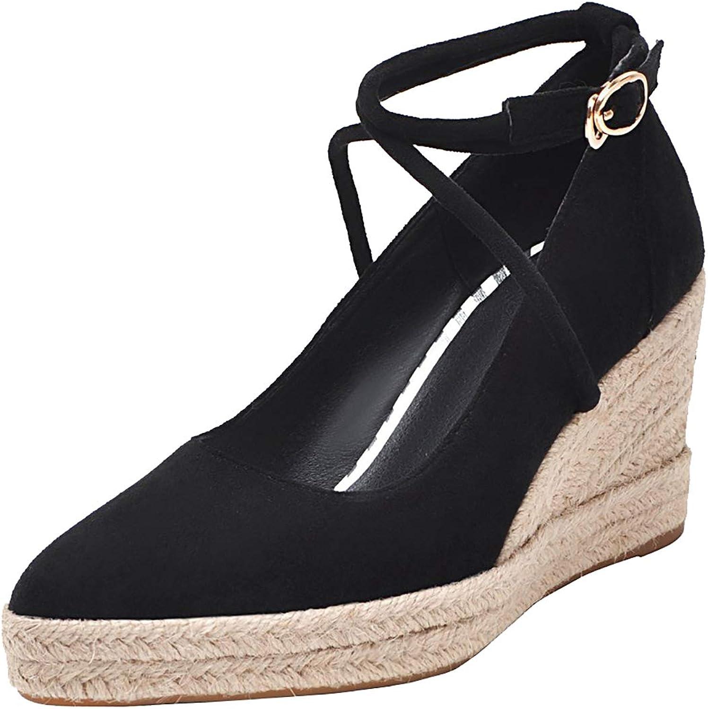 Artfaerie Womens Espadrille Wedge Pump High Heel Platform Pointed Toe Ankle Cross Strap Court shoes