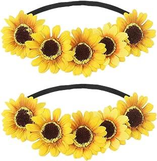 Sunflower Headband Flower Crown Hair Band Floral Headpiece Women Wedding Bridal Hairband Hair Hoop Festival Party Decorati...