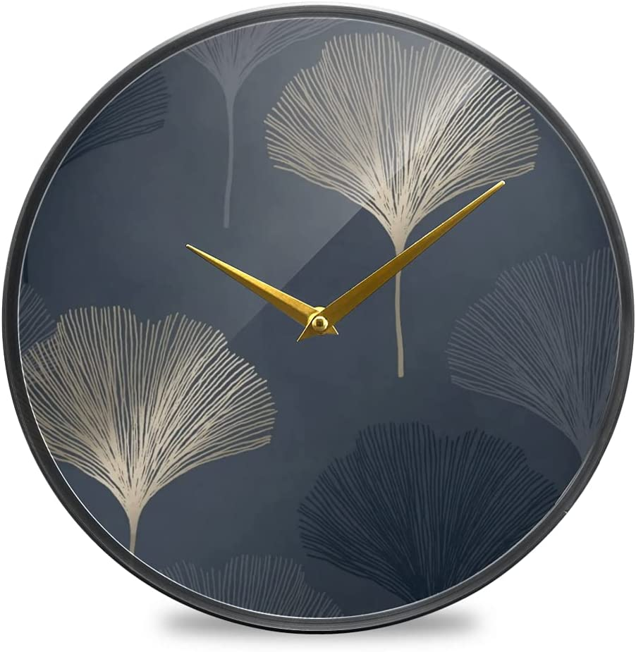 Wall Clock Round Creative Ranking TOP13 Challenge the lowest price of Japan Hanging Navy Clocks Leaf Gingko G