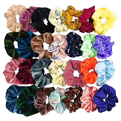 Homerove 28pcs Scrunchies - 12 Vintage Velvet & 8 Flowered Chiffon & 8 Smooth Satin Elastic Hair Bands, Scrunchy Hair Ties Ropes for Women or Ladies or Girls Hair Accessories