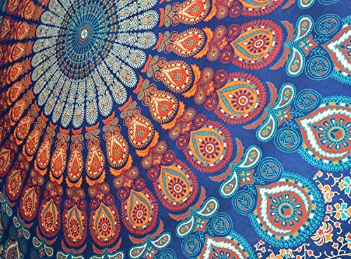 MY DREAM CARTS - Colgante de Pared, diseño de Mandala de Pavo Real, Hippie, Bohemio y psicodélico, algodón psicodélico, intrincados diseños Florales Indios Tradicionales
