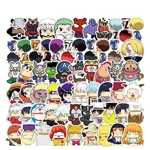 ZFHH 61Pcs Anime Character Cartoon Avatar Graffiti Stickers One Piece Doraemons Spidermans Decals DIY Styling Vinyl Home Decor Kids