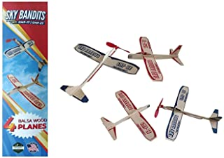 Balsa Wood Airplane Gliders And Propeller Plane Toys Set - 2 Wooden Airplane Kits   2 Rubberband Powered Propellor Planes And 2 Balsa Wood Glider Planes  Model Toy Airplane Kits