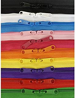 4.5mm YKK Zipper with Double Pull Purse or Handbag Zippers Head to Head Sliders Made in USA (30 Inches - 10 Zippers, Assor...