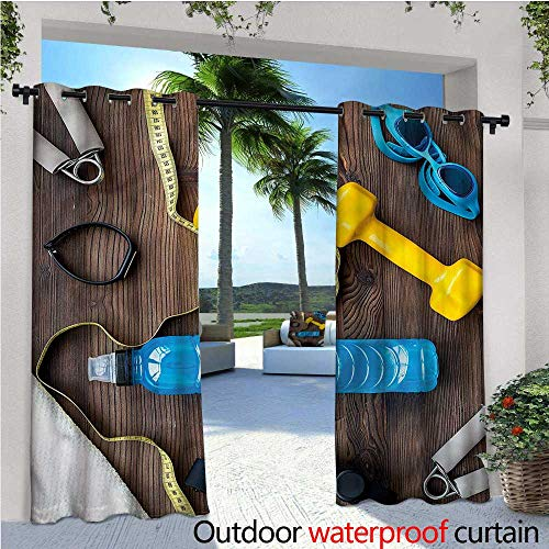 warmfamily Fitness Outdoor- Free Standing Outdoor Privacy Curtain Sport Equipment Concept for Front Porch Covered Patio Gazebo Dock Beach Home W72 x L108