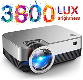 VIVIMAGE C480 Mini Projector, 3800 Lux 1080P Supported and 170`` Display Portable Video Projector with 40,000 Hrs LED Lamp Life, Compatible with TV Stick, PS4, HDMI, VGA, TF, AV and USB