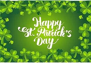 Laeacco 7x5ft Cartoon Happy St.Patrick's Day Backdrops Vinyl Green Shamrock Lucky Clovers Edge Illustration Background Ireland Festival Photo Shoot Community Activities Banner Greeting Card Hope