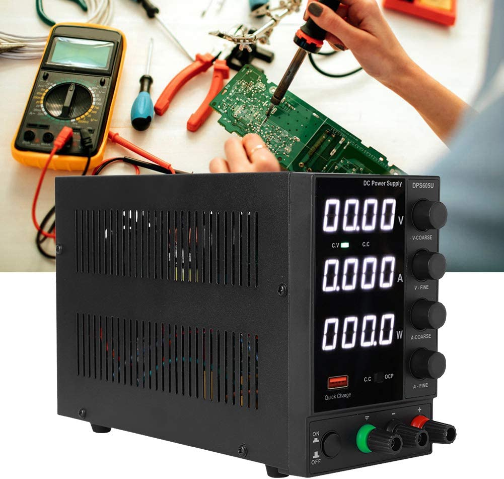 DC Power Supply Adjustable Stabilized Power Supply Lab Equipment USB Quick Charging Output 60V 5A for Phone Computer Maintenance Repair(US Plug 110V)
