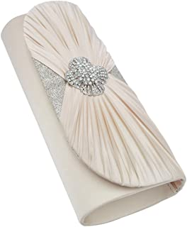 Elegant Cross Pleated Satin Flap Crystal Clutch Evening Bag - Diff Colors Avail