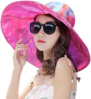 Women's Reversible Summer Rain Hat Sun Hat UV UPF 50 Sun Protection Foldable Large Wide Brim Hat Travel Cap
