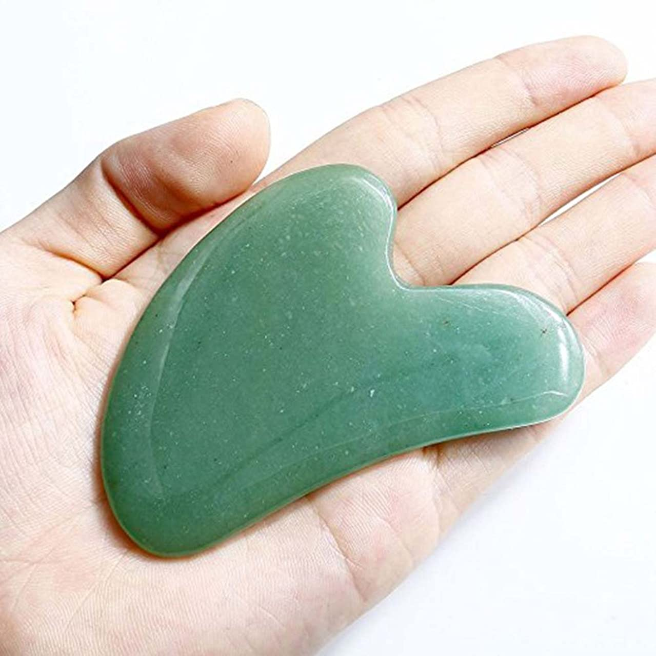 任命敵対的カバレッジEcho & Kern Face / Body Massage Green Aventurine heart shape ハート形状かっさプレート 天然石 翡翠色(顔?ボディのリンパマッサージ) (かっさプレートH)