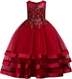 IBTOM CASTLE Girls' Tulle Dresses 7-16 Flower Lace Pageant Party Fall Wedding Floor Length Dance Evening Gowns