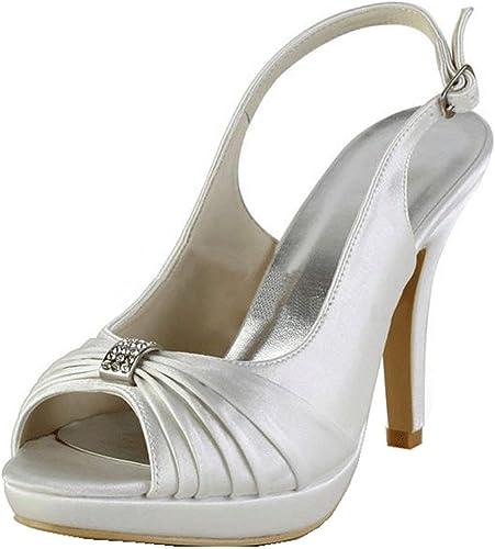 ZHRUI Chaussures de soirée de Mariage Mariage pour Femmes (Couleuré   Ivory-10cm Heel, Taille   5 UK)  profitez de 50% de réduction