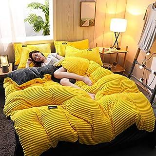 Amacigana Parure de lit en flanelle polaire - Cristal - Velours uni - Motif feuilles - 220 x 240 cm - Housse de couette (A02)