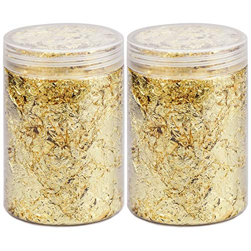 2 Flasche Blattgold Imitation Gold Dekorfolien für Kunstprojekt Vergoldung Handwerk Basteln Dekoration