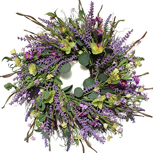Dseap Lavender Wreath - 22 Inch Floral Flower Wreath for Fall Autumn Spring Summer Front Door