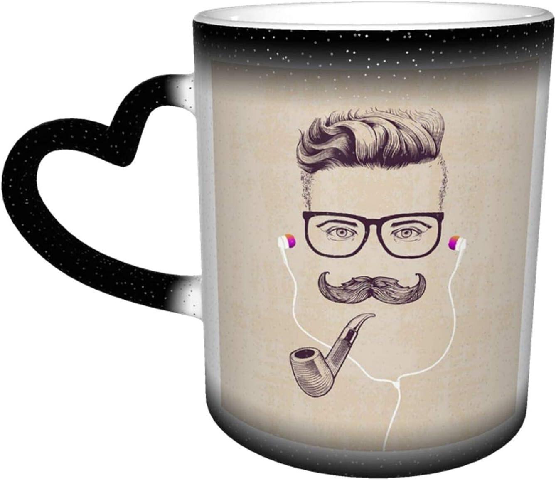 maichengxuan Taza de café con diseño de hipster con gafas para fumar pipa y auriculares Taza de café divertida de cambio de color taza de viaje taza de cerámica sensible al calor