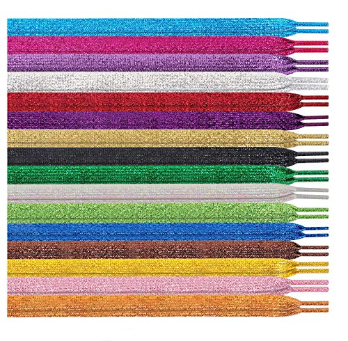 MarJunSep Shimmery glitter 42' Solid Colors Flat Shoelaces Shoe Laces strings for Teams Cheer Dance Sneakers