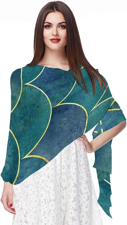 Scarfs for Women Lightweight Print Floral Pattern Scarf Shawl Fashion Scarves Sunscreen Shawls, Green Bright Mermaid Scales Pattern (2)