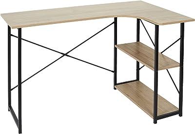 HOME DECO FACTORY HD7109 Bureau d'angle Job Noir Meuble Table d'étude Étagère Intégrée, Métal, 120x74x74 cm