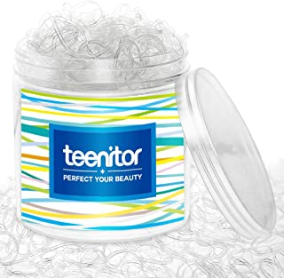Clear Elastic Hair Bands, Teenitor 2000pcs Mini Hair Rubber Bands with a Box, Soft Hair Elastics Ties Bands 2mm in Width a...