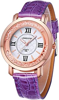 Perfect Home 1745 Fashion Personality Women Quartz Wrist Watch with PU Leather Band and Alloy Watch Case Fashion (Color : Purple)