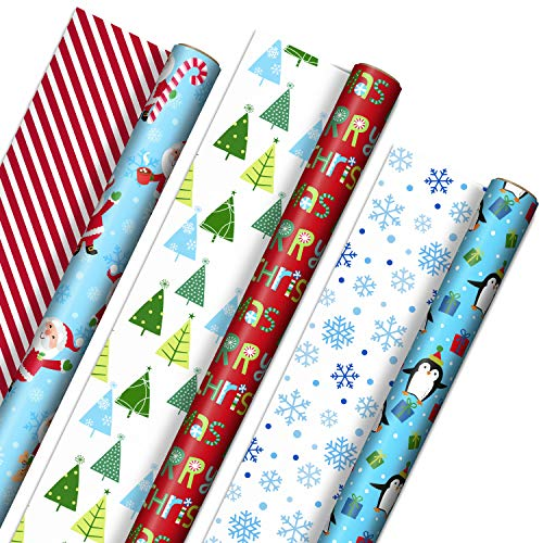 "Hallmark Cute Reversible Christmas Wrapping Paper for Kids (3 Rolls: 120 sq. ft. ttl) Penguins, Santa, Trees, Stripes, Snowflakes, ""Merry Christmas"""