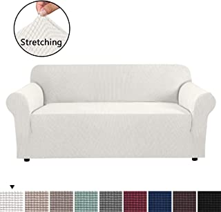 H.VERSAILTEX Form Fit Stretch Stylish Furniture Cover for Sofa Featuring Rich Jacquard Knitted Fabric, Basic Strapless Slipcover for 3 Seater Sofa Machine Washable/Skid Resistance (Sofa: Ivory White)