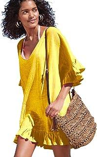 588865ee1fca3 OMSJ Cute Dresses Womens Swimsuit Loose Cover ups Bikini Beach Tunic Top