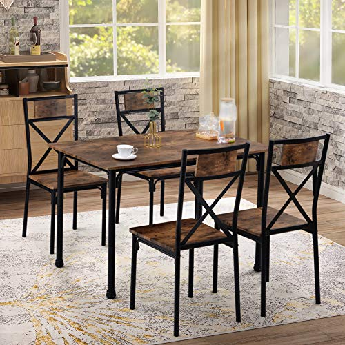 Juego de mesa de comedor y sillas de 4 estilo industrial retro mesa de comedor