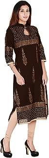 Zoeyams Women's Brown Cotton Block Prints Long Straight kurti