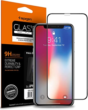 Spigen, Vetro Temperato Compatible con iPhone XS/X, Copertura Totale, Compatibile con Face ID, 5.8 Pollici, Protezione per Schermo Compatible con iPhone XS/X, Pellicola Compatible con iPhone XS/X