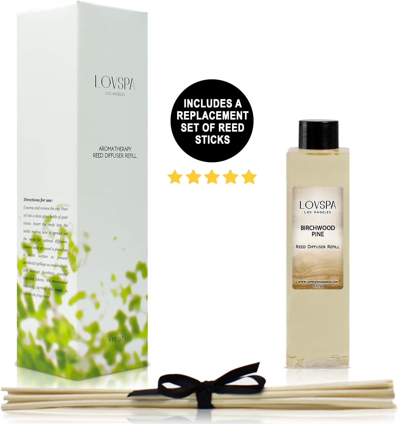 LOVSPA Birchwood Pine Reed Diffuser Oil Refill with Replacement Reed Sticks - Scent for Kitchen or Bathroom, 4 oz - Made in The USA