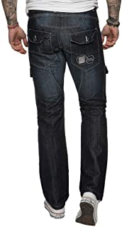 Enzo Mens Jeans Original Fit Straight Leg Cargo Combat Style Multi Pockets All Waist Sizes Regular & Big and Tall King 28-...