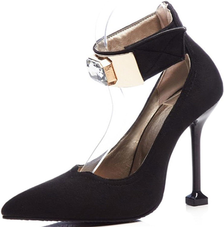 FORTUN Shallow Mouth Pointed Toe Stilettos Women's Velcro high Heels Rhinestones