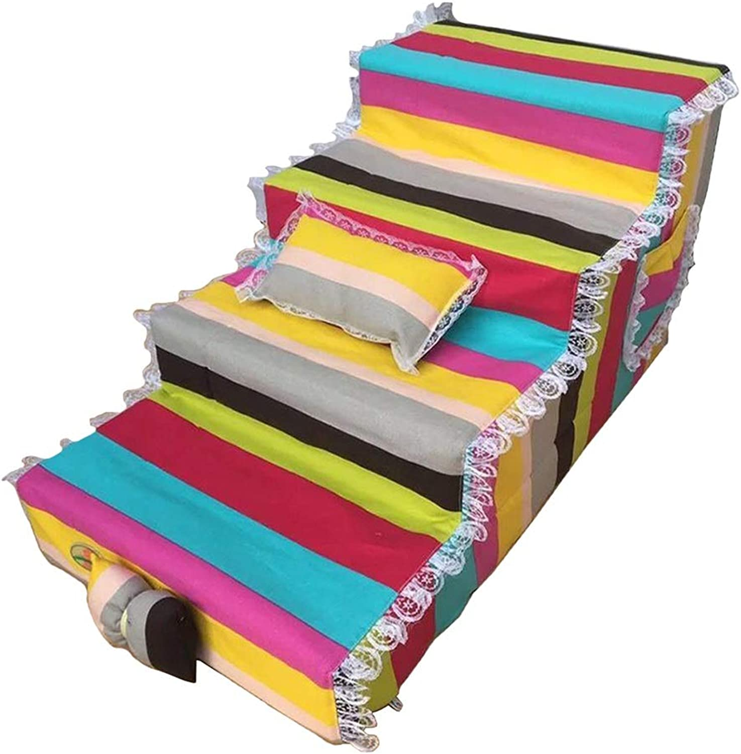 LXLA  Nonslip 4 Steps Dogs Stairs, for smaller pets, Great for Sofa and High Bed, Removable Washable, 80 × 40 × 40cm