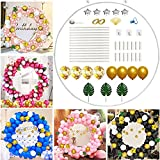 Elecrainbow 62 Inch Large Size Round Backdrop, Reusable Circle Frame Balloon Kit for Party, Birthday, Wedding, Graduation, Baby Shower, Photo Background, Tools and Balloons Included, 52 Pieces