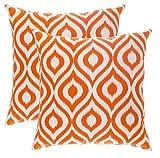 TreeWool - Juego de 2 Fundas de cojín Decorativas, diseño de Ikat Ogee (40 x 40 cm), Color Naranja